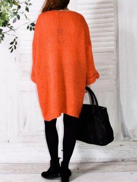 Robe Pull en maille, marque Lagenlook modèle Douceur orange dos