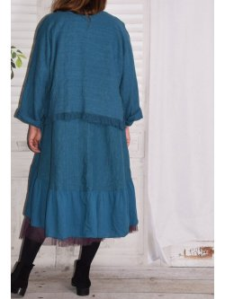 Aurore, robe en lin bohème - bleu canard