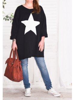Tunique sweat Star,  marque Lagenlook - noir
