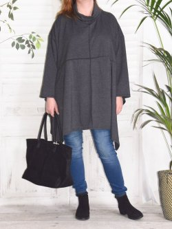 Christina, tunique grande taille Lagenlook, - anthracite