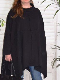 Christina, tunique grande taille Lagenlook, - noir