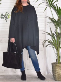Christina, tunique grande taille Lagenlook, - Marine