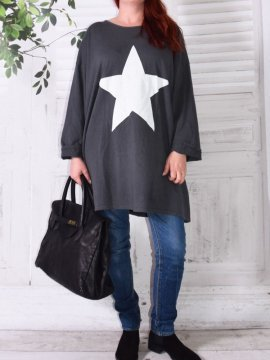Tunique sweat Star, marque Lagenlook gris avant