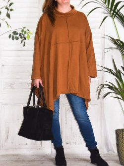 Christina, tunique grande taille Lagenlook, - noisette
