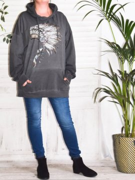 Indiana, sweat grande taille Lagenlook gris face