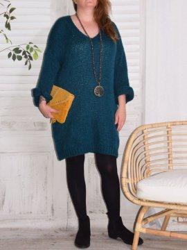Robe Pull en maille, marque Lagenlook modèle Douceur bleu canard avant