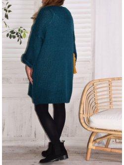 Robe Pull en maille,  marque Lagenlook modèle Douceur - bleu canard