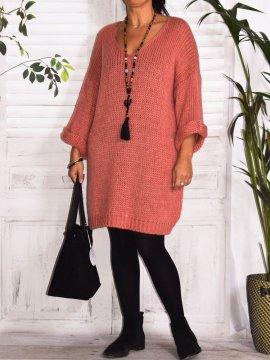 Robe Pull en maille, marque Lagenlook modèle Douceur rose avant