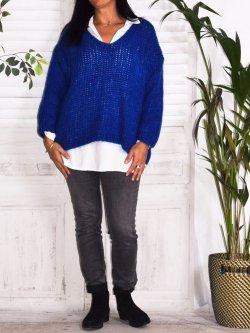 Amandine, pull grande taille - bleu roi