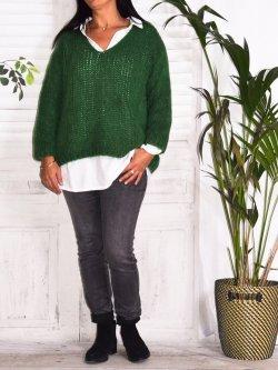 Amandine, pull grande taille - vert