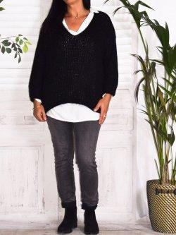 Amandine, pull grande taille - noir