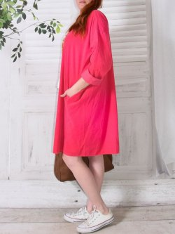 Robe en velours Nola, marque Lagenlook - fuchsia