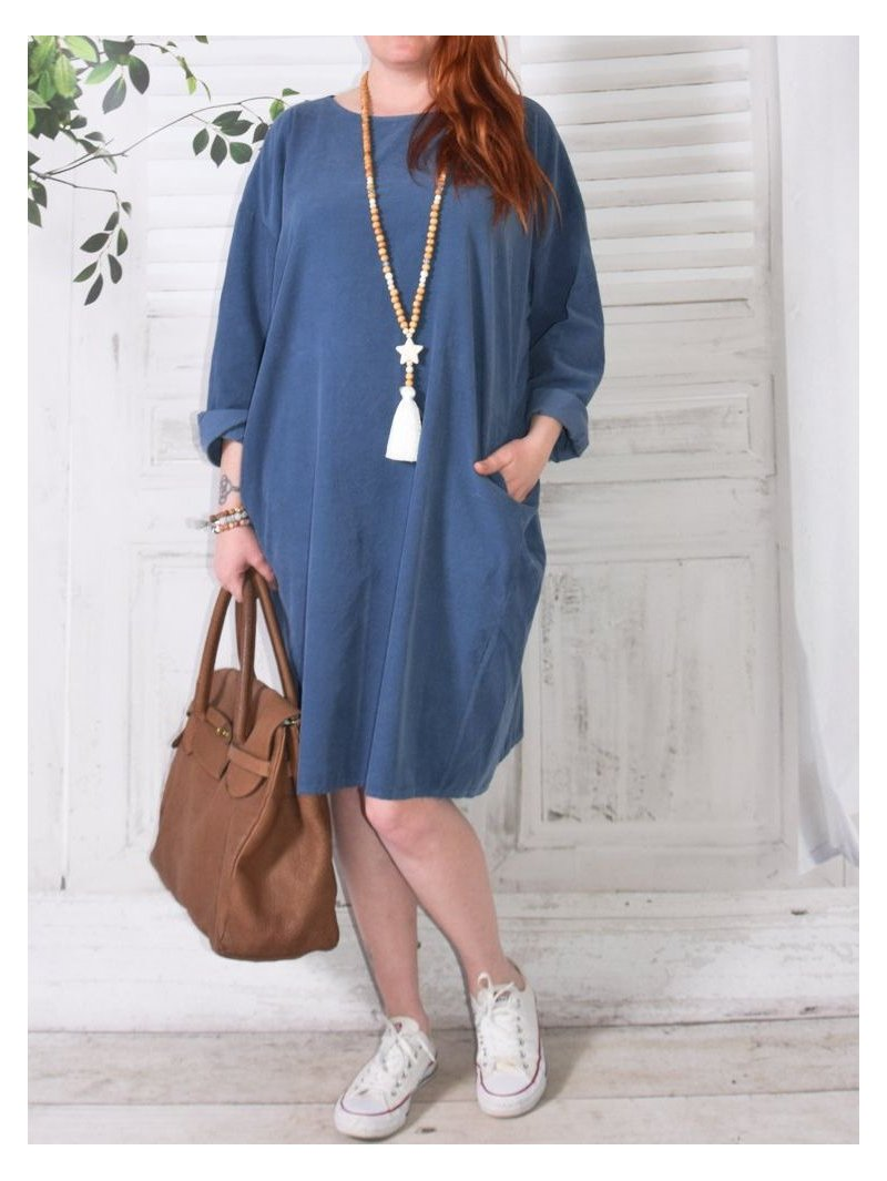 Robe en velours Nola, marque Lagenlook bleu face