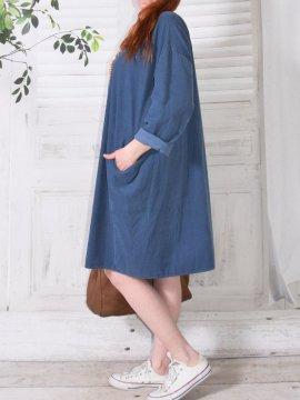 Robe en velours Nola, marque Lagenlook bleu coté
