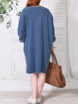 Robe en velours Nola, marque Lagenlook bleu dos