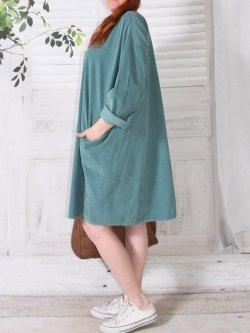 Robe en velours Nola, marque Lagenlook - vert d'eau