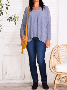 Vanessa, pull fluide, grande taille parme face