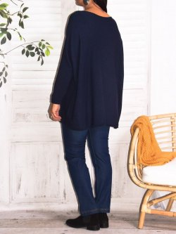 Athéna, pull fluide, grande taille - Marine