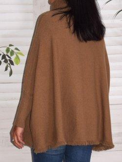Megève, poncho marque Lagenlook - camel