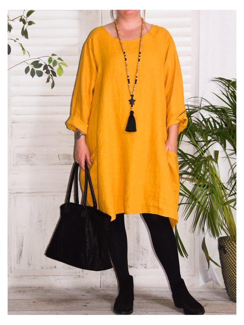 Romane, robe lin grande taille Lagenlook jaune face