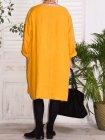 Romane, robe lin grande taille Lagenlook jaune dos