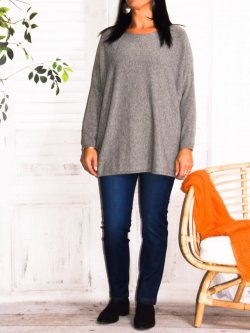 Athéna, pull fluide, grande taille - gris