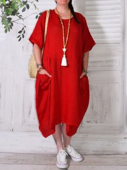 Floride, robe en lin, Lagenlook - rouge