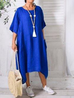 Floride, robe en lin, Lagenlook - bleu roi