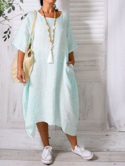 Floride, robe en lin, Lagenlook - vert d'eau