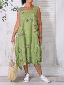 Madelyn, robe lin fleuri, Lagenlook
