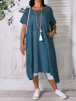 Candice,  originale robe rayée - vert d'eau