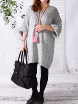 Robe Pull en maille, marque Lagenlook modèle Douceur gris avant