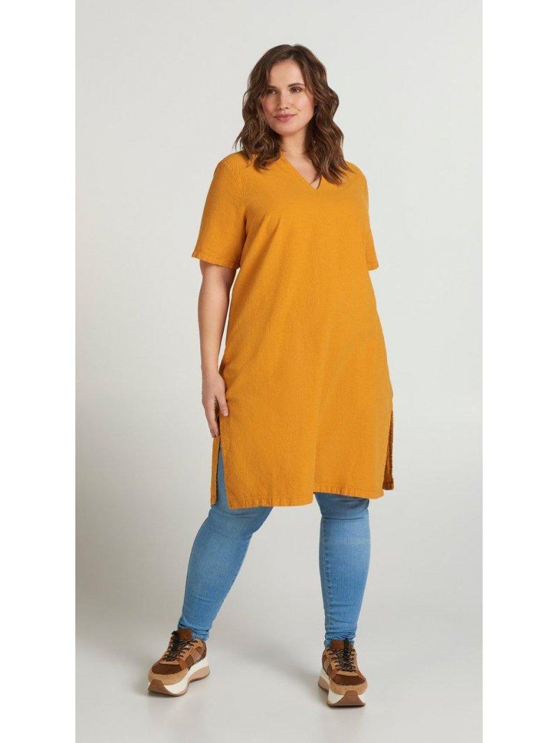 Johanna, robe grande taille, marque Zizzi jaune