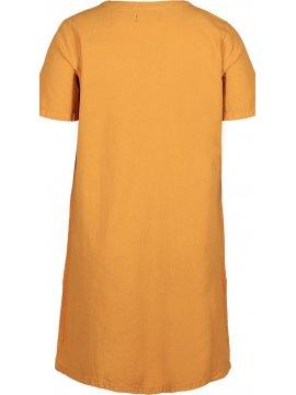 Johanna, robe grande taille, marque Zizzi jaune zoom arriere