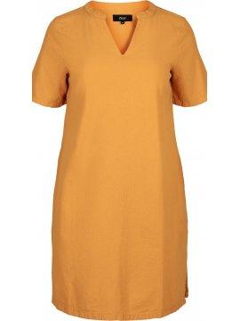 Johanna, robe grande taille, marque Zizzi jaune zoom face