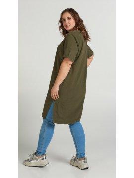 Johanna, robe grande taille, marque Zizzi kaki profil
