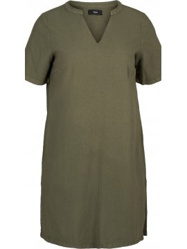 Johanna, robe grande taille, marque Zizzi kaki devant zoom