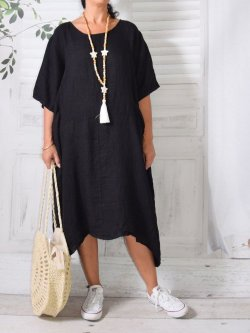 Floride, robe en lin, Lagenlook - noir