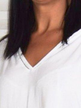 Alex, chemise fluide, Lagenlook blanc col