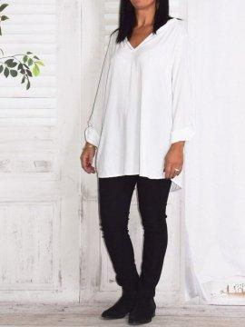 Alex, chemise fluide, Lagenlook blanc face