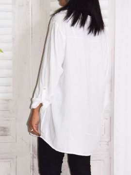 Alex, chemise fluide, Lagenlook blanc dos