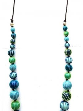 Sautoir Palme perles bois bleu zoom