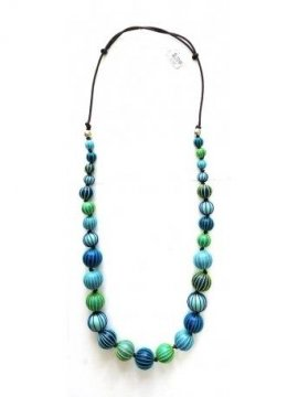 Sautoir Palme perles bois bleu