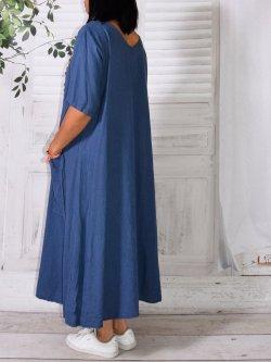 Bali, robe en lin grande taille, Lagenlook - Bleu