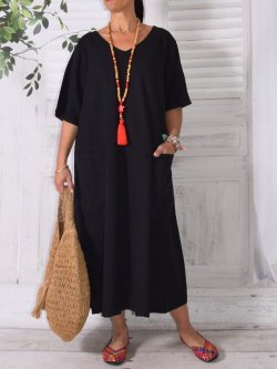 Bali, robe en lin grande taille, Lagenlook - noir