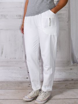 Berlin, pantalon sportswear, Lagenlook blanc face