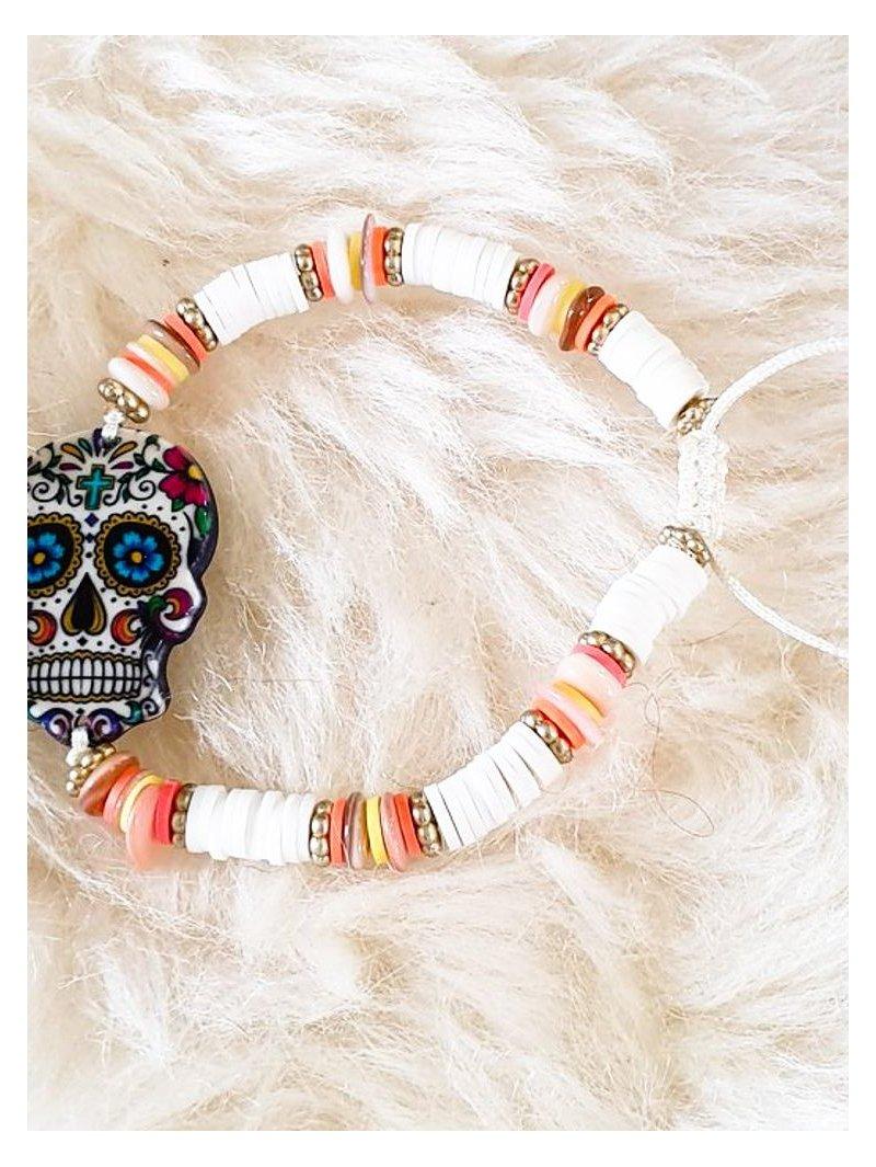 bracelet skull bohème beige