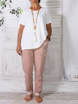 Berlin, pantalon sportswear,  Lagenlook - rose