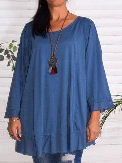 Athènes, top en coton, marque Lagenlook - Bleu