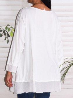 Athènes, top en coton, marque Lagenlook - blanc